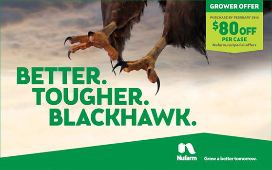 Better. Tougher. Blackhawk. Grower Offer - Purchase by February 28th - $80 off per case - Nufarm - Grow a better tomorrow